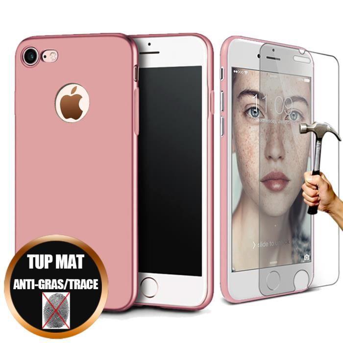 Coque iPhone 7 (4,7') Verre Trempé Anti-choc TPU Mat Gel Ultra Slim - Rose