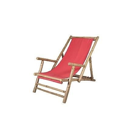 Chaise longue en bambou et tissu rouge relax achat for Chaise longue jardin bambou