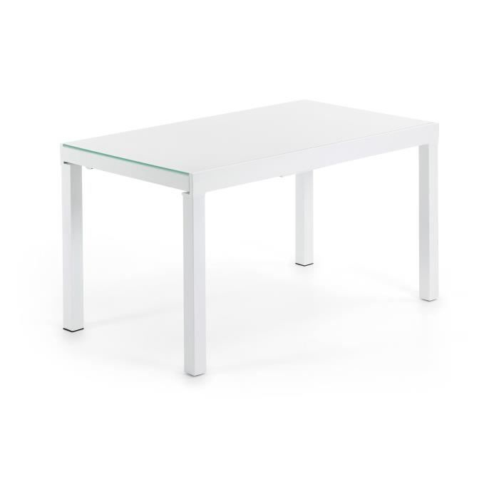 Table extensible mitra blanc 80 140 cm achat vente for Table extensible 140 cm