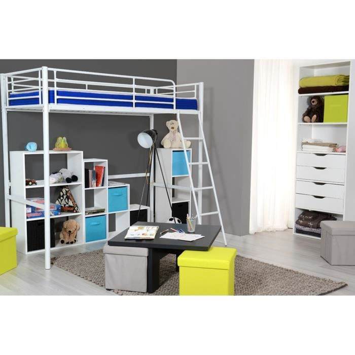 lit mezzanine blanc 2 places 90x90 cm m tal kangoo achat vente lit mezzanine soldes d. Black Bedroom Furniture Sets. Home Design Ideas