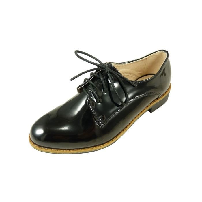 chaussures lacets femme derbies vernis bout rond noir achat vente derby soldes d s. Black Bedroom Furniture Sets. Home Design Ideas