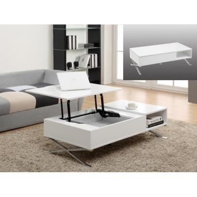 Table basse alpano plateau relevable blanc et achat for Table basse scandinave plateau relevable
