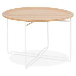 TABLE BASSE TABLE BASSE DE SALON 'MAREA' BLANCHE EN BOIS ET MÉ