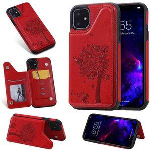 COQUE - BUMPER Coque iPhone 11,Rouge Chat Cuir Premium Porte-cart