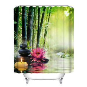 RIDEAU DE DOUCHE Rideau de douche ZEN bambous pierres fleur bougie