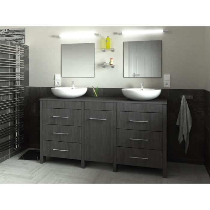 era salle de bain compl te double vasque l 150 cm d cor bois essen noir achat vente salle. Black Bedroom Furniture Sets. Home Design Ideas
