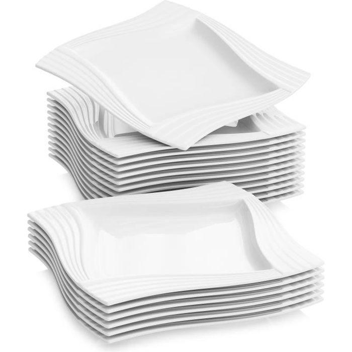 18pcs Assiettes Plates 25.5cm Porcelaine Vaisselles Assiette Carrée Plat Service de Table Malacasa Série AMPARO