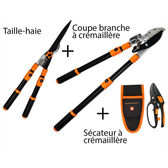 Caisse A Outils - Lot Outils - Taille-Haie + Coupe Branche À Crémaillére + Sécateur À Crémaillére Noir