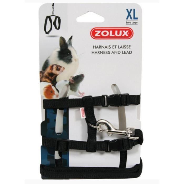 Zolux Casual Kit Harnais pour Petit Mammifère Noir Taille XL