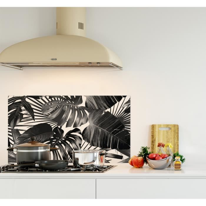 Crédence de cuisine adhésive en Panneau composite aluminium -Feuilles tropicales noir et blanc- L. 90 x H. 50 cm