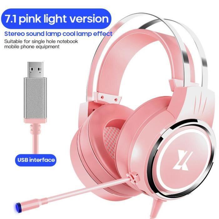 Casque de jeu d'ordinateur monté sur la tête rose fille Cardio 7.1 canal filaire diffusion en direct avec Microphone pour PS4 téléph