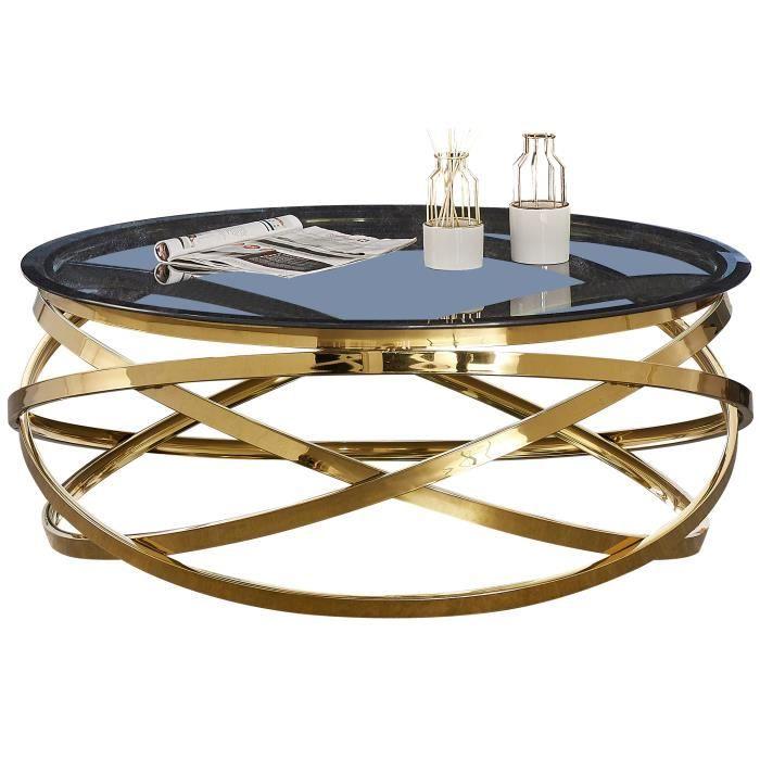 Table basse design rond avec piètement en acier inoxydable poli doré et plateau en verre trempé anthracite L. 100 x H. 43 cm