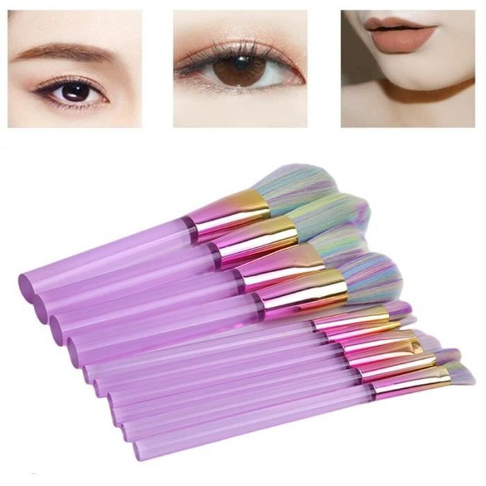 PLUS 10 pièces pinceau de maquillage et cosmétique outil plat colonne Base brosse acrylique Transparent maquillage pour femme haute