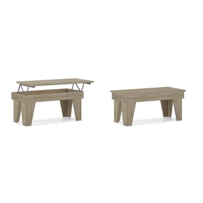 Table basse relevable, salle à manger, Modèle KL, chêne clair, mesure 92x50x45/57 cm de haut