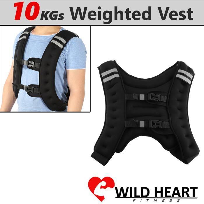 Gilet Lesté 10 Kg de Musculation Ajustable Exercices d'entraînement -ZOO