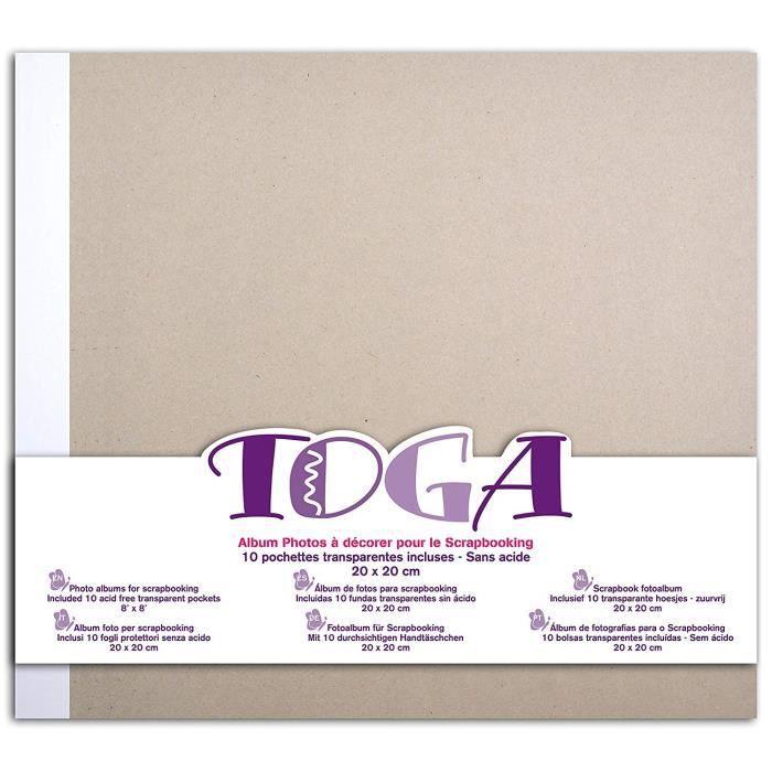 Toga AL14 Album de Scrapbooking Brut à décorer, Carton, Gris, 20 x 20 x 2,5 cm