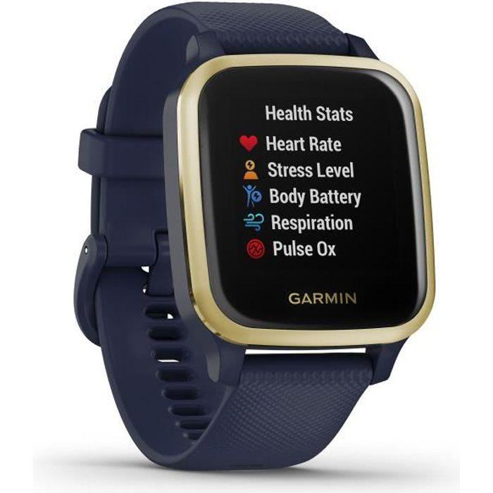GARMIN Venu Sq Edition Musique - Captain Blue/Light Gold - Montre GPS de sport connectée santé et bien-être