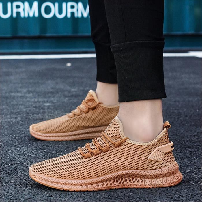 Men's Summer Woven Breathable Sneakers Casual Lightweight Fashion Running Shoes 0705308YE Jaune