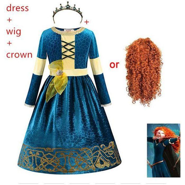 Déguisement d'halloween pour enfants film Brave princesse Merida anime Cosplay costumes carnaval fête de noël vêtements COS robe + p