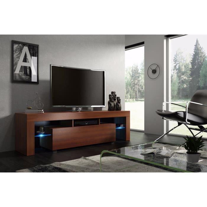 Meuble tv 160 cm noyer MDF avec led