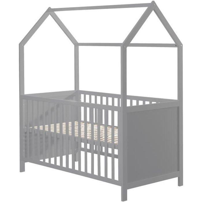 ROBA Lit cabane 70x140 cm, certifié FSC, lit bébé évolutif, taupe, convertible et réglable en 3 hauteurs