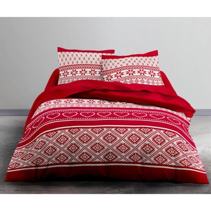 Housse de couette 220x240 Winter + 2 taies 100% coton flanelle Rouge