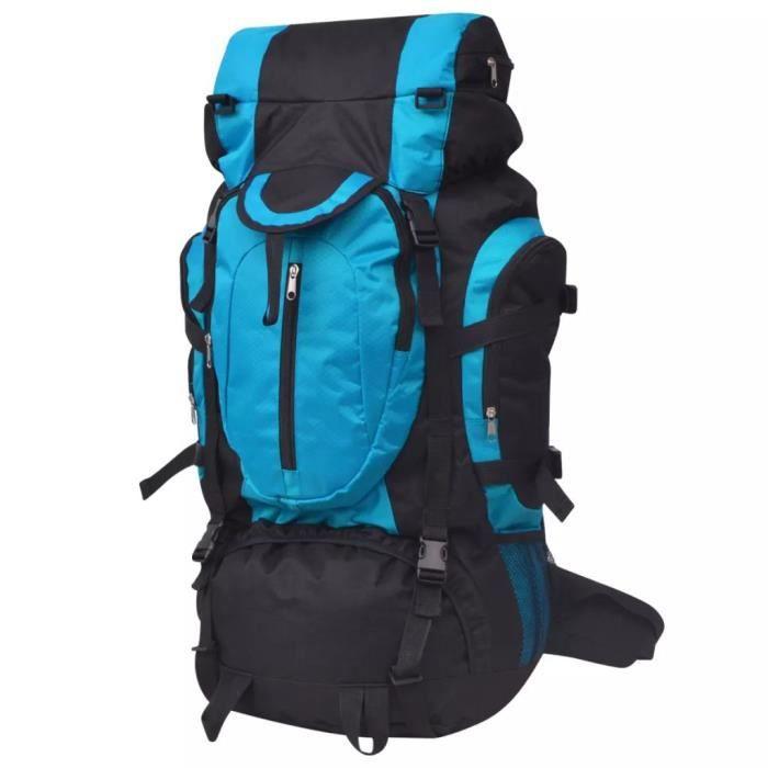 Sac à dos de randonnée - Polyester 600D - Imperméable - Grande capacité 75 L - Noir et bleu