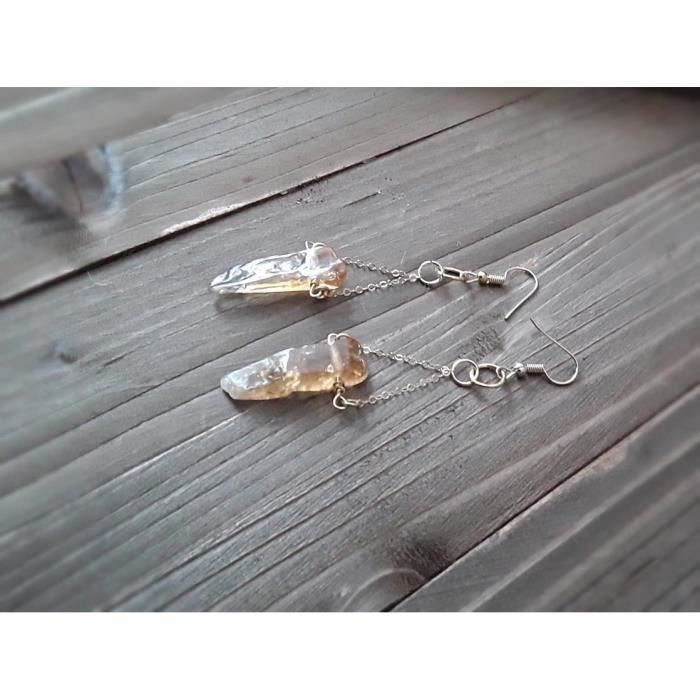 Womens Natural Citrine And Gold Drop Earrings S8S40