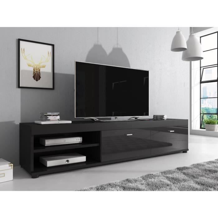 elsa meuble tv contemporain d cor noir 140 cm achat vente meuble tv elsa meuble tv. Black Bedroom Furniture Sets. Home Design Ideas