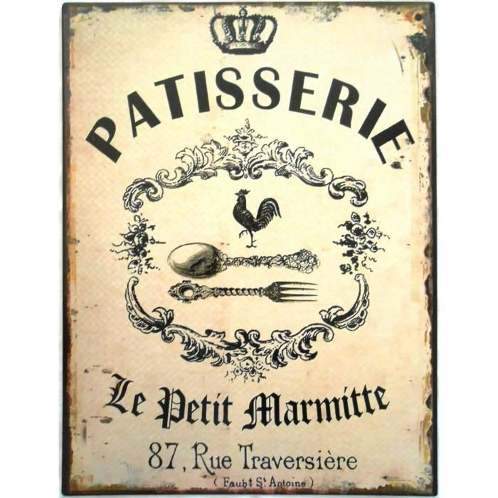 Plaque d corative en m tal patisserie 33x25 cm achat for Plaque murale decorative metal