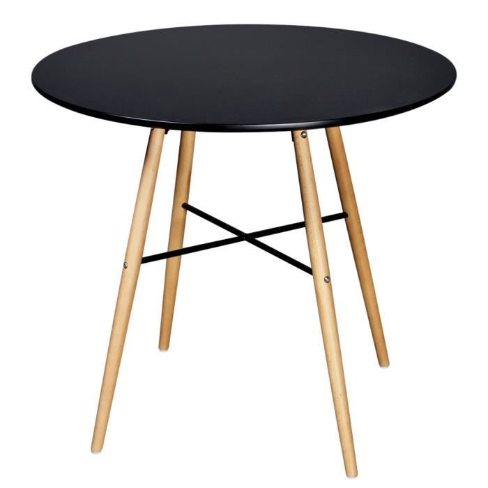 table ronde moderne avec pieds en bois noir achat. Black Bedroom Furniture Sets. Home Design Ideas