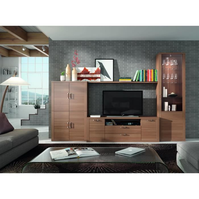 ensemble bibliotheque et meuble tv kylian noyer 21845 achat vente living meuble tv kylian. Black Bedroom Furniture Sets. Home Design Ideas