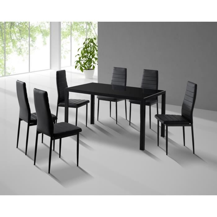 Table manger design 6 chaises simili cuir noir achat for Chaise de table design