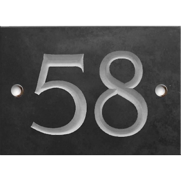 Signal/étique ext/érieure Num/éro de maison//rue grav/é et personnalis/é couleur blanc chiffres noirs