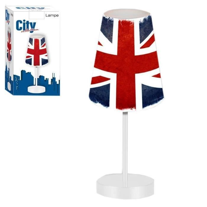 Lampe london union jack lampe avec abat jour londres uk for Poser une lampe au plafond