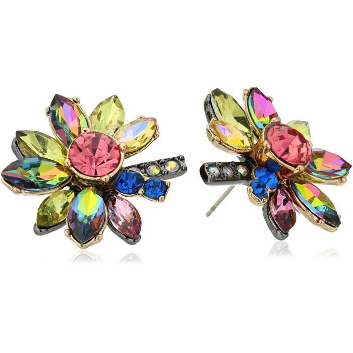 Betsey Johnson Surreal Forest Bright Multi-stone Flower Stud Earrings Z9LXG