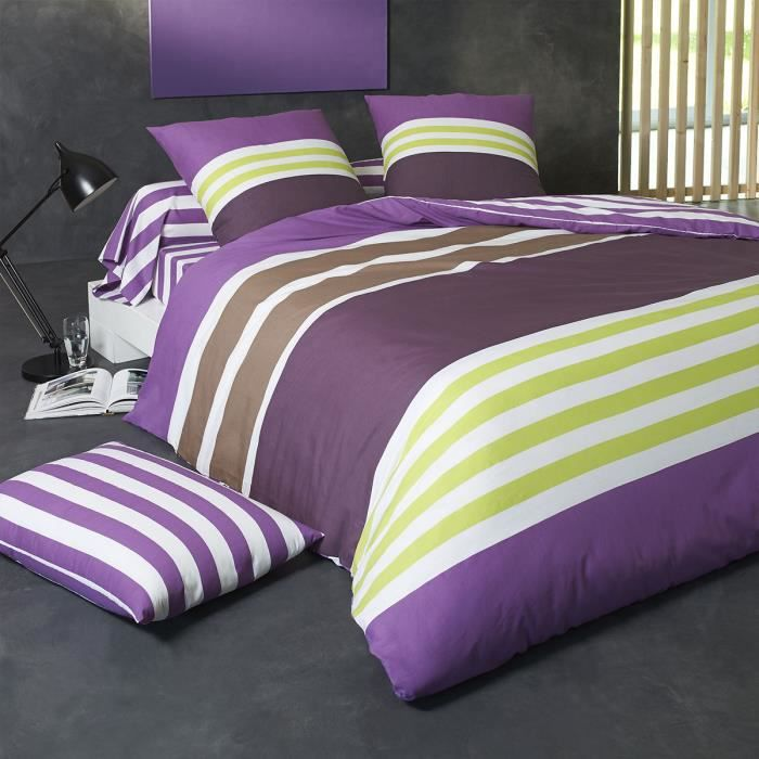 housse de couette coton violet prune 260 x 240 achat. Black Bedroom Furniture Sets. Home Design Ideas
