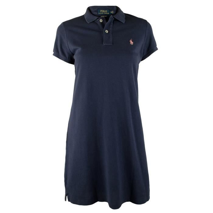 Polo Ralph Lauren Short-Sleeve Polo Dress Marine - Achat   Vente ... 2d6c6474f910