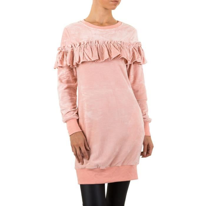 femmes robe Volantvelours rose S