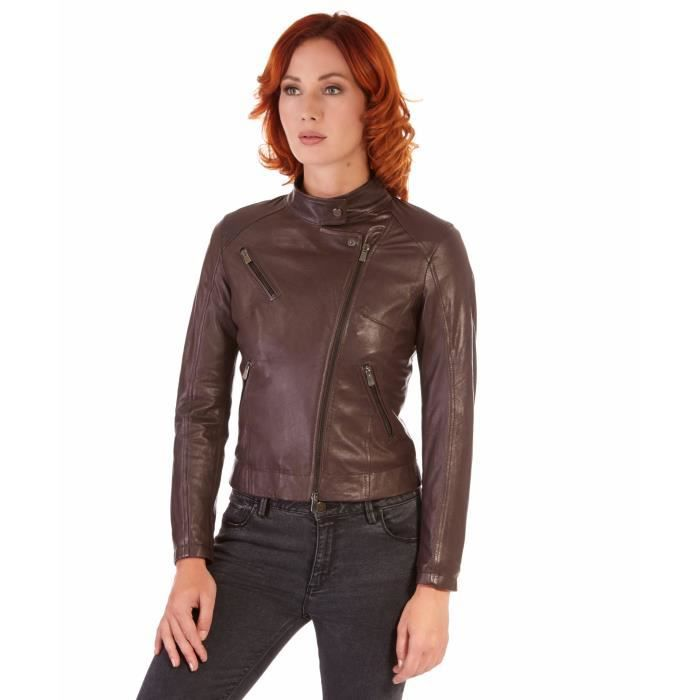 Blouson femme 100/% cuir boutons col Mao double revers style motard noir