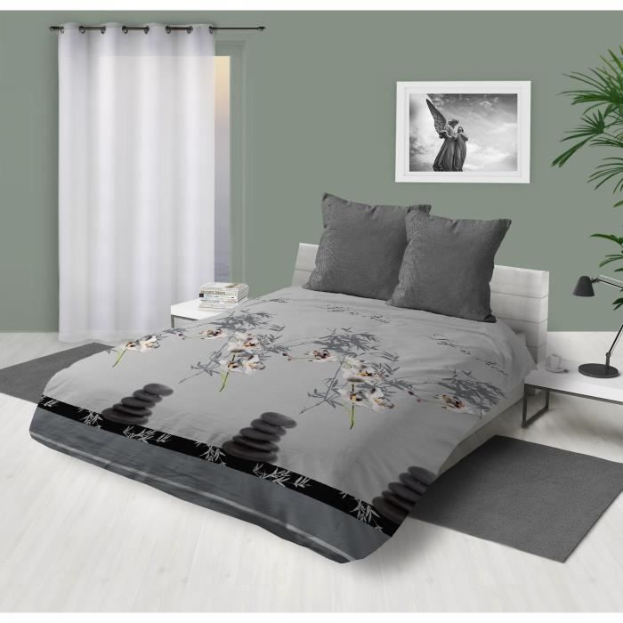 couette imprimee 220x240 gris achat vente pas cher. Black Bedroom Furniture Sets. Home Design Ideas