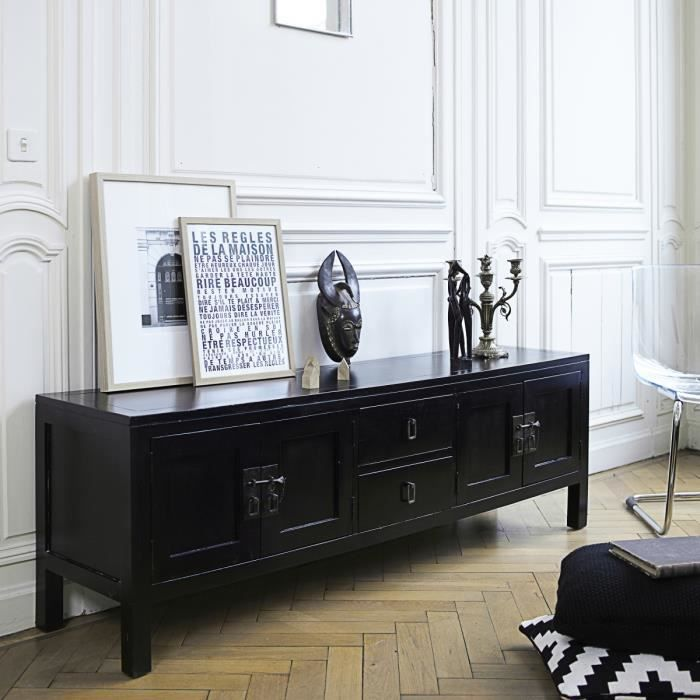 meuble tv en acajou noir 170 thaki black achat vente. Black Bedroom Furniture Sets. Home Design Ideas