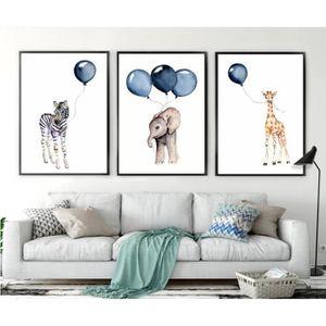 Affiche Nordique Enfants Dessin Animé Mignon Zèbre éléphant