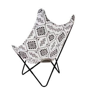 FAUTEUIL BIRDY Fauteuil Papillon Ethnique - Tissu Noir Et B