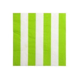 SERVIETTE JETABLE 100 Serviettes en papier vert anis rayé blanc