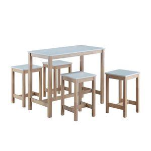 MANGE-DEBOUT Ensemble Table haute et 4 tabourets Ammon Blanc et
