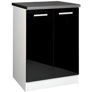 ELEMENTS BAS Meuble cuisine bas 60 cm 2 portes TARA noir