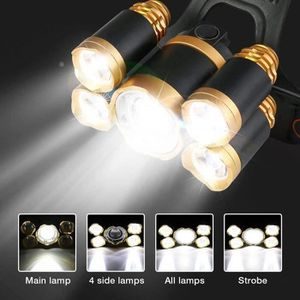 LAMPE FRONTALE MULTISPORT Lampe Frontale Puissante Rechargeable avec 5 LED C