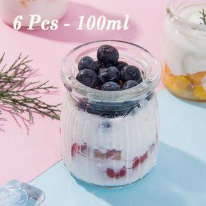 YAOURTIÈRE - FROMAGÈRE 6 Pcs Pot Dessert Bocal Crème Pot de Yaourt  Verre