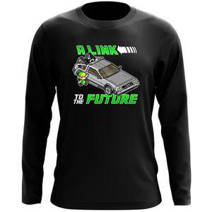 T-SHIRT T-Shirt à manches longues Noir Zelda parodique Lin